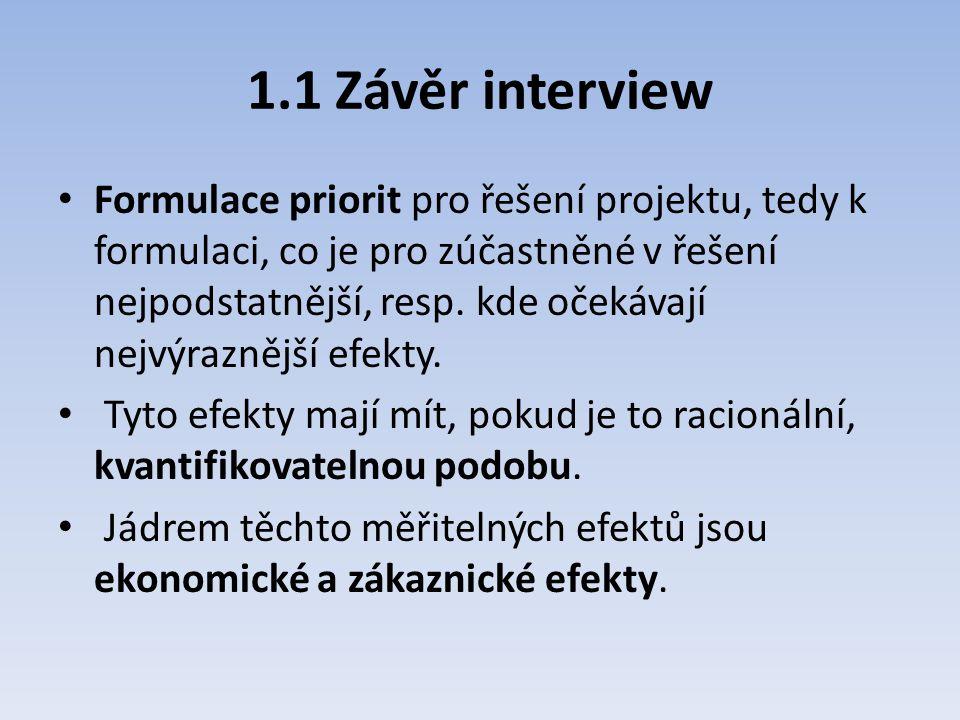 1.1 Závěr interview Formulace priorit pro řešení projektu, tedy k formulaci, co je pro zúčastněné v řešení nejpodstatnější, resp. kde očekávají nejvýr