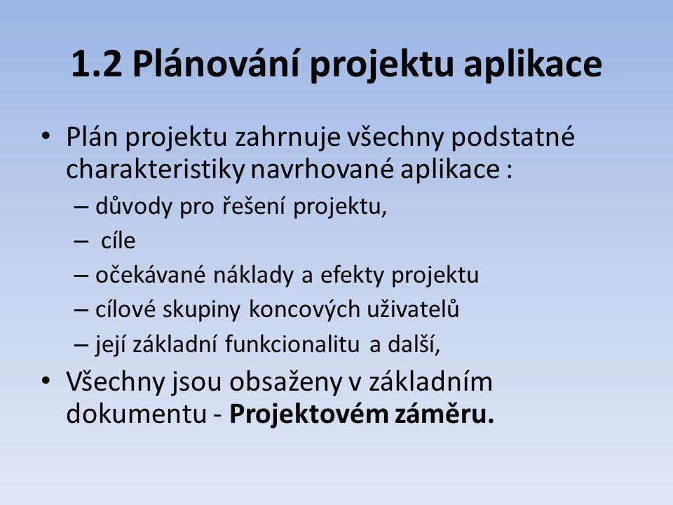1.2 Plánování projektu aplikace Plán projektu zahrnuje všechny podstatné charakteristiky navrhované aplikace : – důvody pro řešení projektu, – cíle –