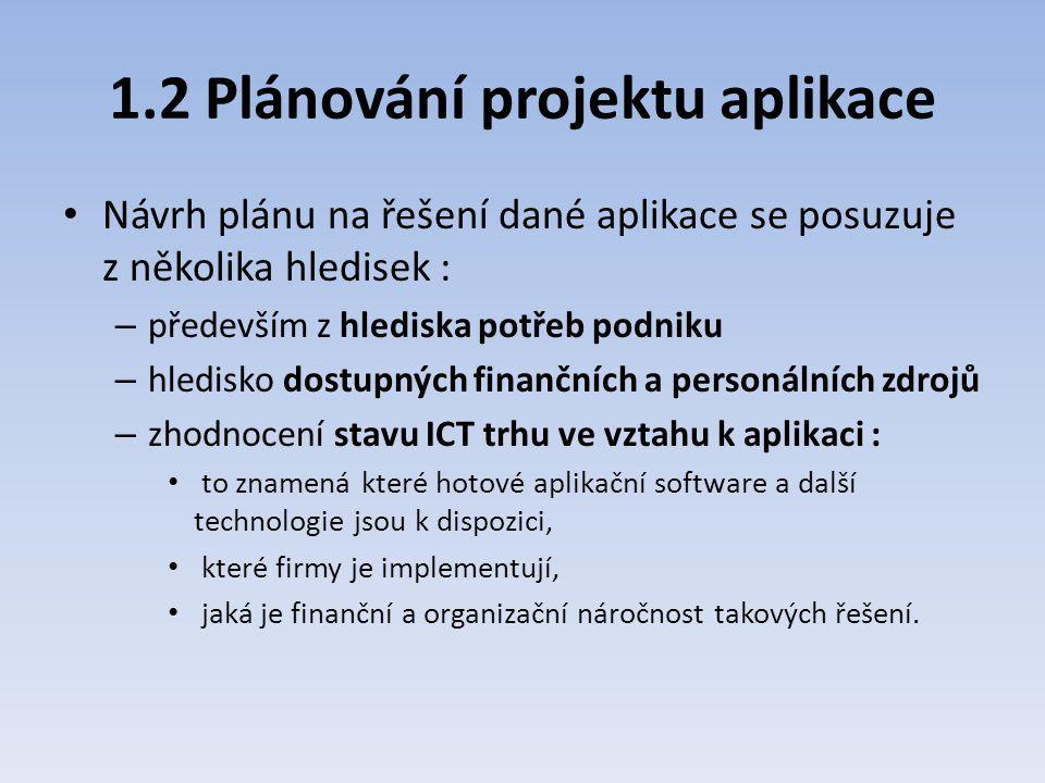 1.2 Plánování projektu aplikace Návrh plánu na řešení dané aplikace se posuzuje z několika hledisek : – především z hlediska potřeb podniku – hledisko