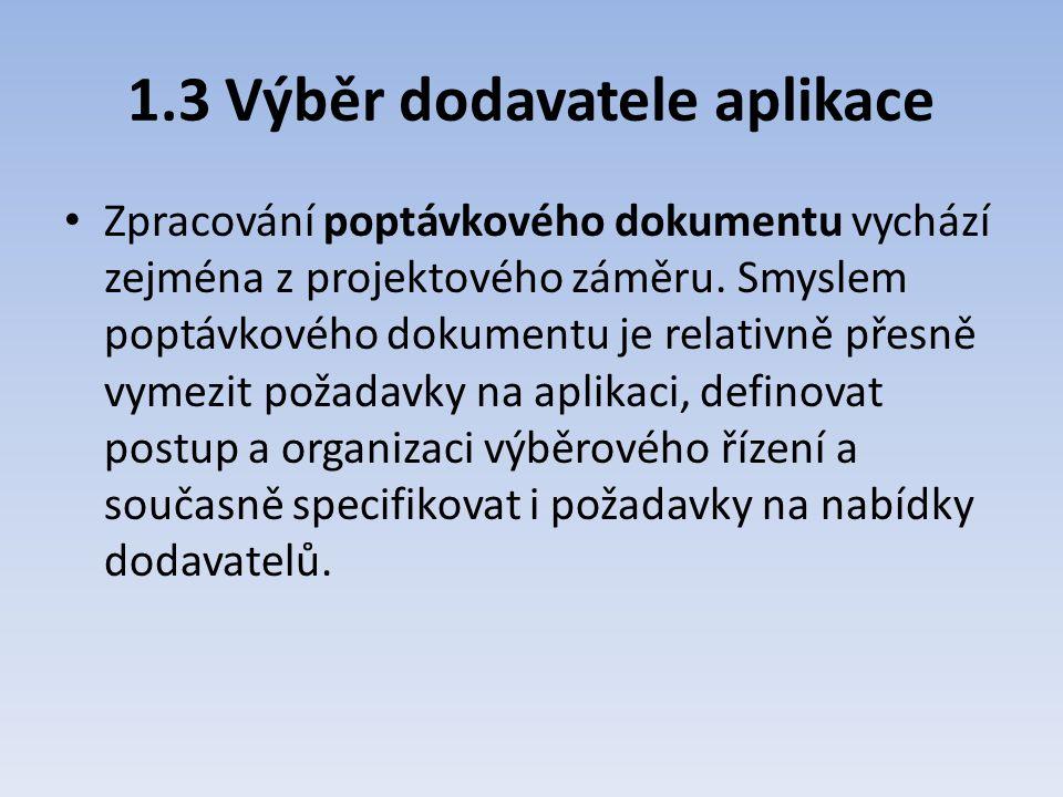 1.3 Výběr dodavatele aplikace Zpracování poptávkového dokumentu vychází zejména z projektového záměru. Smyslem poptávkového dokumentu je relativně pře