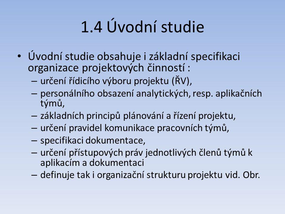 1.4 Úvodní studie Úvodní studie obsahuje i základní specifikaci organizace projektových činností : – určení řídicího výboru projektu (ŘV), – personáln