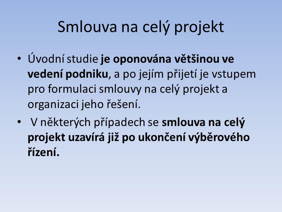 Smlouva na celý projekt Úvodní studie je oponována většinou ve vedení podniku, a po jejím přijetí je vstupem pro formulaci smlouvy na celý projekt a o