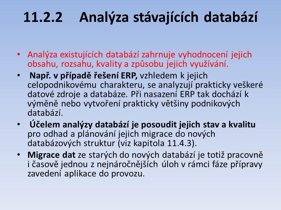 11.2.2Analýza stávajících databází Analýza existujících databází zahrnuje vyhodnocení jejich obsahu, rozsahu, kvality a způsobu jejich využívání. Např