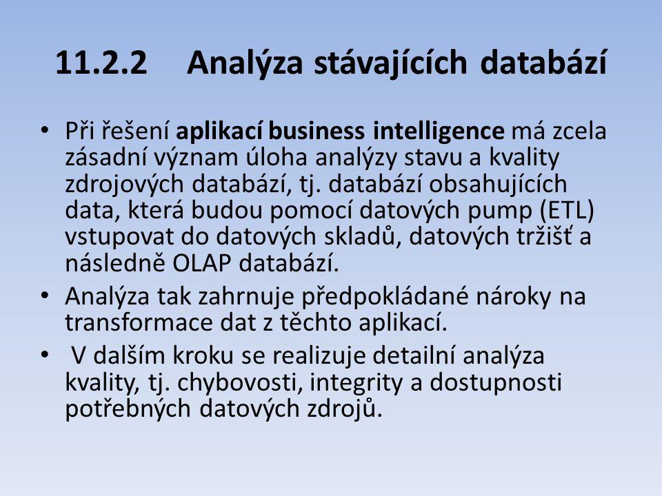 11.2.2Analýza stávajících databází Při řešení aplikací business intelligence má zcela zásadní význam úloha analýzy stavu a kvality zdrojových databází