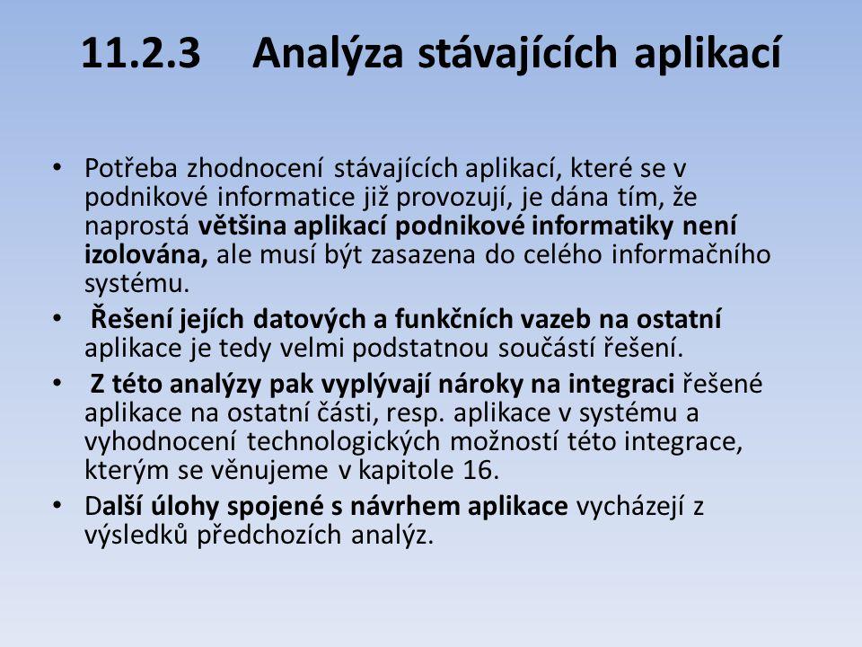11.2.3Analýza stávajících aplikací Potřeba zhodnocení stávajících aplikací, které se v podnikové informatice již provozují, je dána tím, že naprostá v