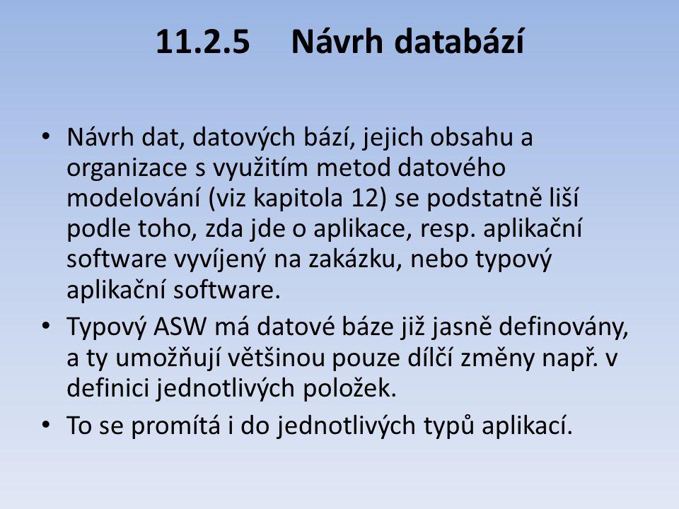 11.2.5Návrh databází Návrh dat, datových bází, jejich obsahu a organizace s využitím metod datového modelování (viz kapitola 12) se podstatně liší pod