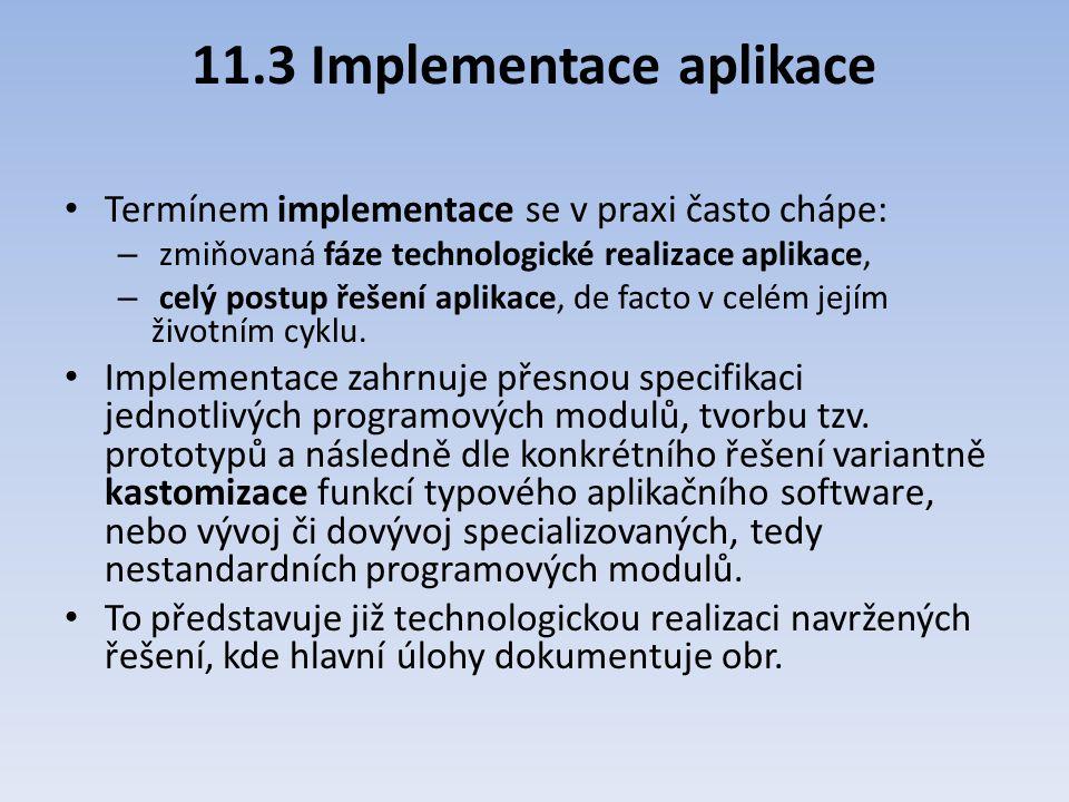 11.3 Implementace aplikace Termínem implementace se v praxi často chápe: – zmiňovaná fáze technologické realizace aplikace, – celý postup řešení aplik