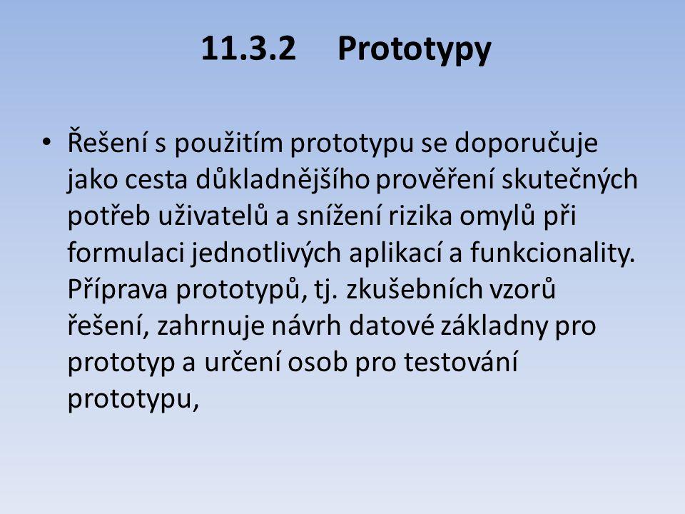 11.3.2Prototypy Řešení s použitím prototypu se doporučuje jako cesta důkladnějšího prověření skutečných potřeb uživatelů a snížení rizika omylů při fo