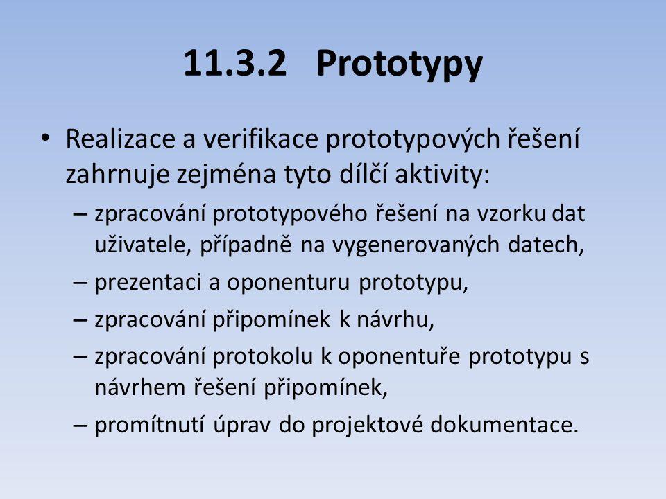 11.3.2Prototypy Realizace a verifikace prototypových řešení zahrnuje zejména tyto dílčí aktivity: – zpracování prototypového řešení na vzorku dat uživ