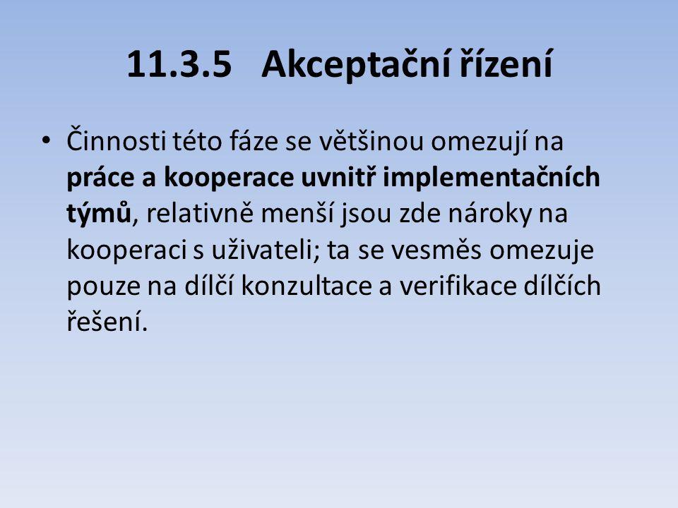 11.3.5Akceptační řízení Činnosti této fáze se většinou omezují na práce a kooperace uvnitř implementačních týmů, relativně menší jsou zde nároky na ko