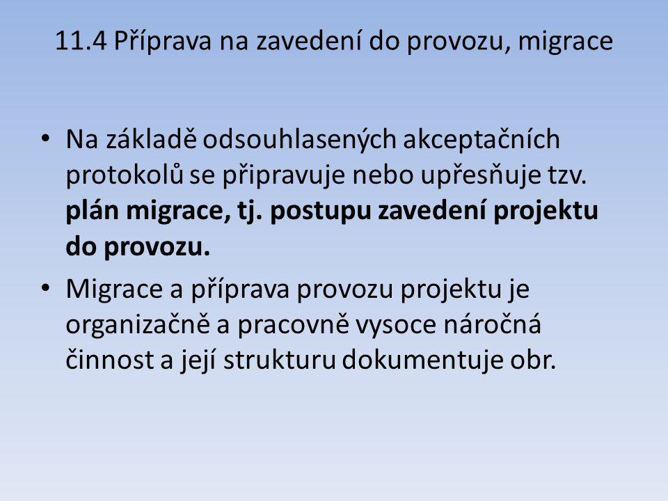 11.4 Příprava na zavedení do provozu, migrace Na základě odsouhlasených akceptačních protokolů se připravuje nebo upřesňuje tzv. plán migrace, tj. pos