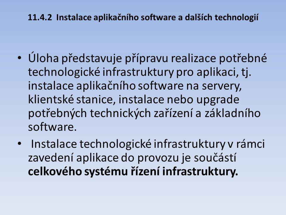 11.4.2Instalace aplikačního software a dalších technologií Úloha představuje přípravu realizace potřebné technologické infrastruktury pro aplikaci, tj