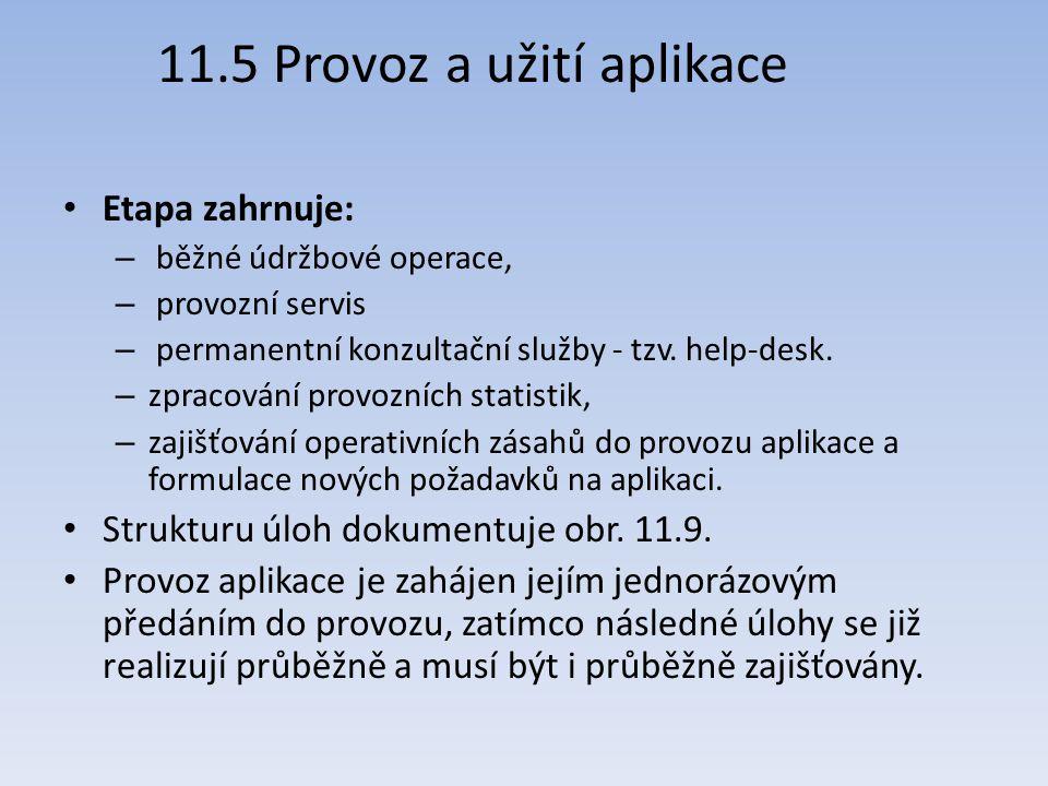 11.5 Provoz a užití aplikace Etapa zahrnuje: – běžné údržbové operace, – provozní servis – permanentní konzultační služby - tzv. help-desk. – zpracová