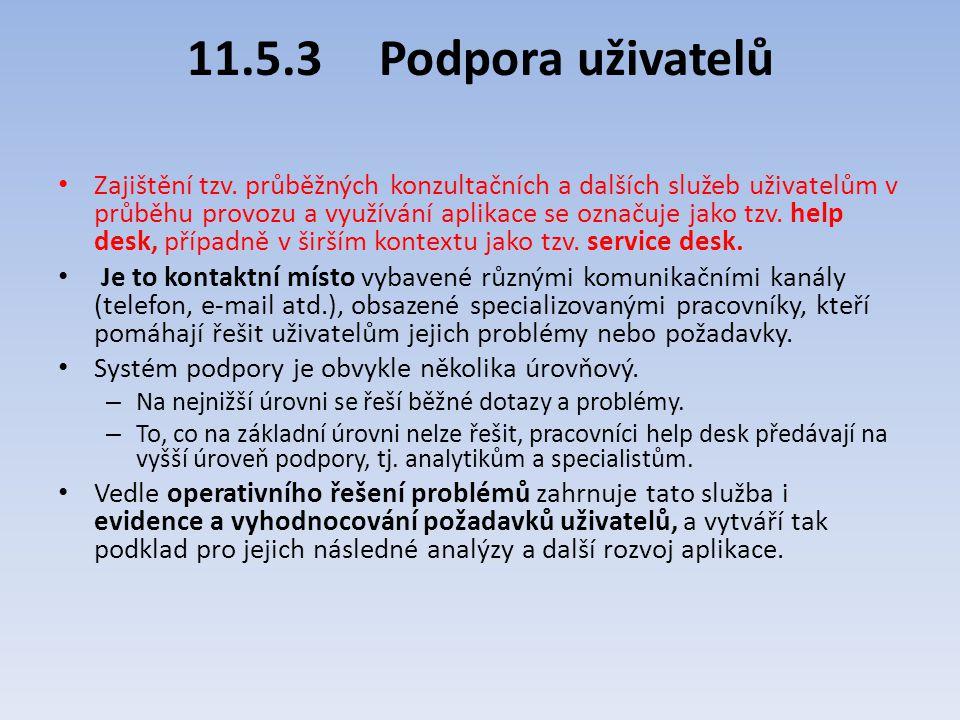 11.5.3Podpora uživatelů Zajištění tzv. průběžných konzultačních a dalších služeb uživatelům v průběhu provozu a využívání aplikace se označuje jako tz