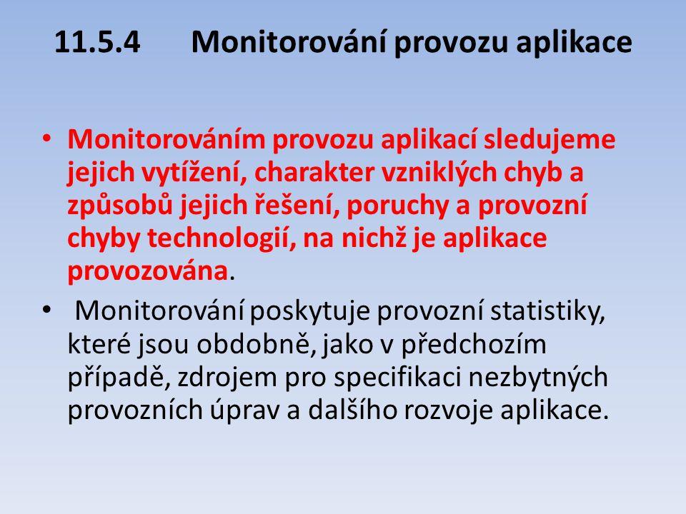 11.5.4Monitorování provozu aplikace Monitorováním provozu aplikací sledujeme jejich vytížení, charakter vzniklých chyb a způsobů jejich řešení, poruch