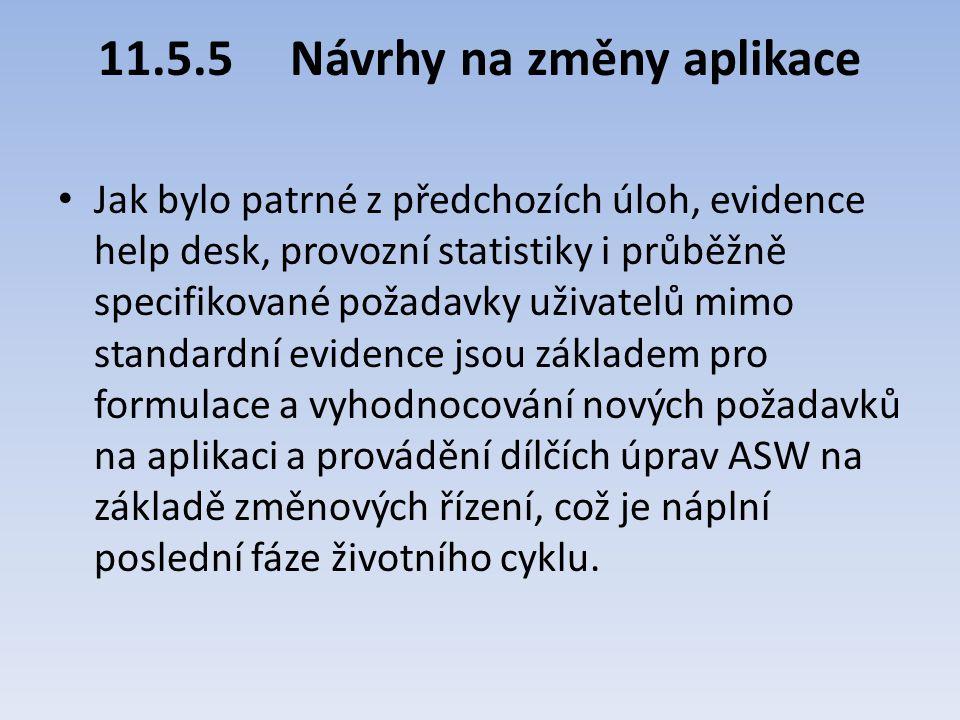 11.5.5Návrhy na změny aplikace Jak bylo patrné z předchozích úloh, evidence help desk, provozní statistiky i průběžně specifikované požadavky uživatel