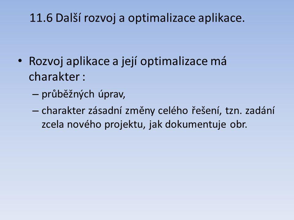 11.6 Další rozvoj a optimalizace aplikace. Rozvoj aplikace a její optimalizace má charakter : – průběžných úprav, – charakter zásadní změny celého řeš