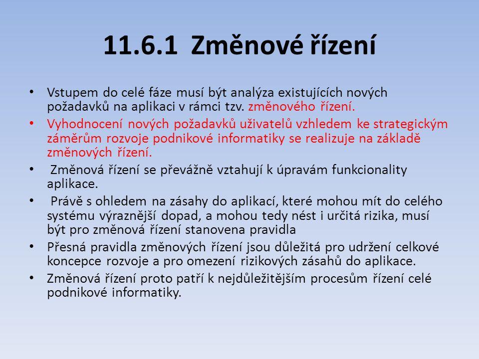 11.6.1 Změnové řízení Vstupem do celé fáze musí být analýza existujících nových požadavků na aplikaci v rámci tzv. změnového řízení. Vyhodnocení novýc