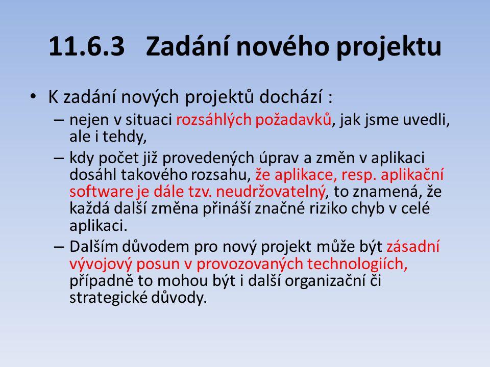 11.6.3Zadání nového projektu K zadání nových projektů dochází : – nejen v situaci rozsáhlých požadavků, jak jsme uvedli, ale i tehdy, – kdy počet již
