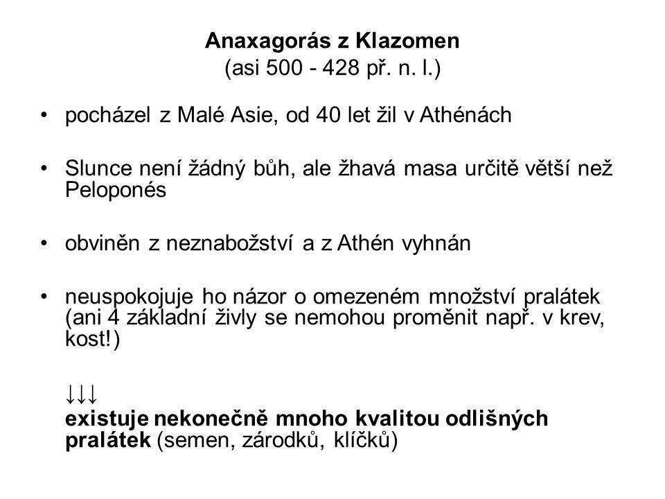 Anaxagorás z Klazomen (asi 500 - 428 př. n. l.) pocházel z Malé Asie, od 40 let žil v Athénách Slunce není žádný bůh, ale žhavá masa určitě větší než