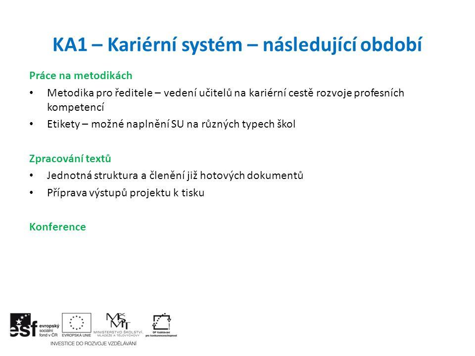 KA1 – Kariérní systém – následující období Práce na metodikách Metodika pro ředitele – vedení učitelů na kariérní cestě rozvoje profesních kompetencí
