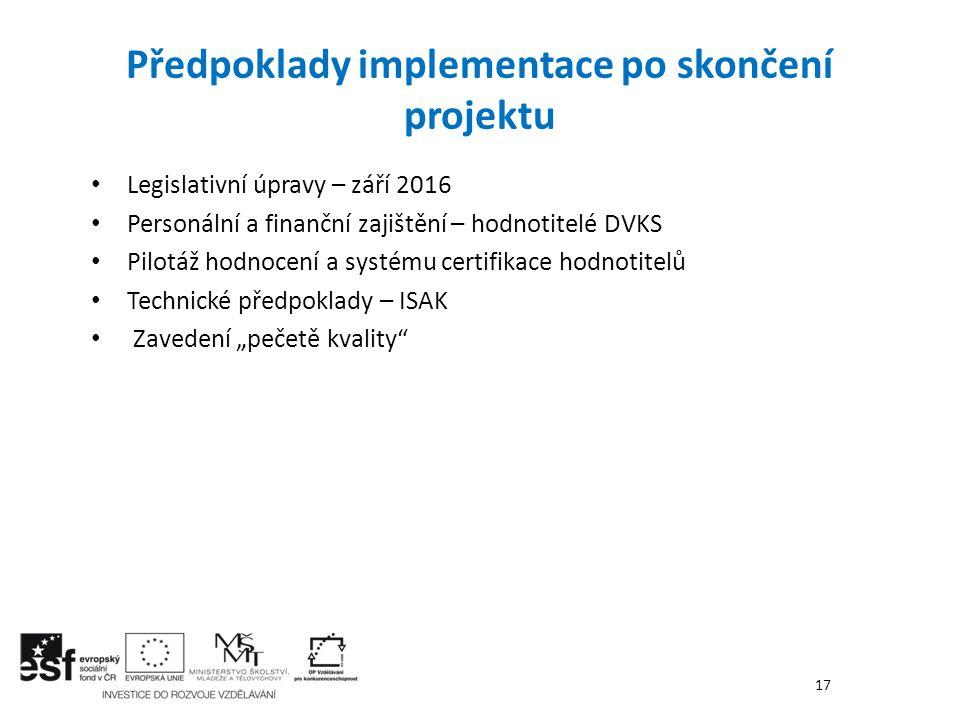 Legislativní úpravy – září 2016 Personální a finanční zajištění – hodnotitelé DVKS Pilotáž hodnocení a systému certifikace hodnotitelů Technické předp
