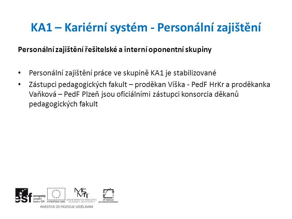 KA1 – Kariérní systém – výstupy a realizace Projekt se z pohledu KA1 dostává do závěrečné fáze Je zpracován komplexní materiál pro jednání gremiální porady a porady vedení MŠMT Materiál prošel interním připomínkovým řízením na MŠMT Byl projednán opakovaně s NM Fidrmucem Materiál byl odsouhlasen legislativci MŠMT jako výchozí materiál vhodný pro zahájení prací na přípravě paragrafových změn Ekonomické dopady Byly detailně zpracovány rozbory s vyčíslením nákladů pro postupný náběh kariérního systému, tyto rozbory byly projednány s minstrem Chládkem