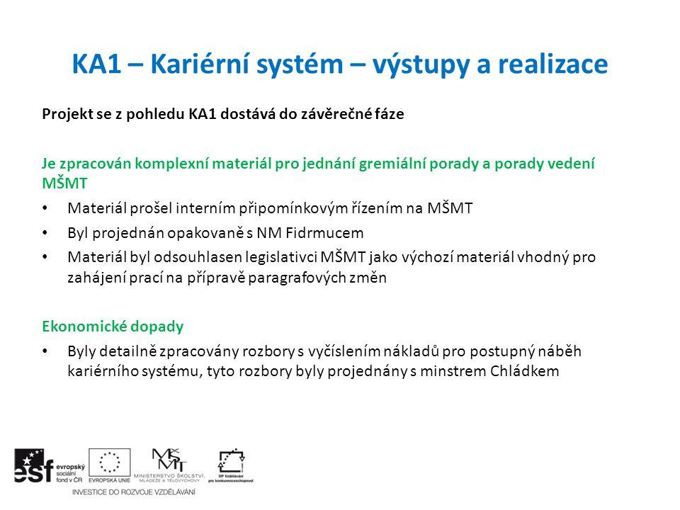 KA1 – Kariérní systém – výstupy a realizace Projekt se z pohledu KA1 dostává do závěrečné fáze Je zpracován komplexní materiál pro jednání gremiální p