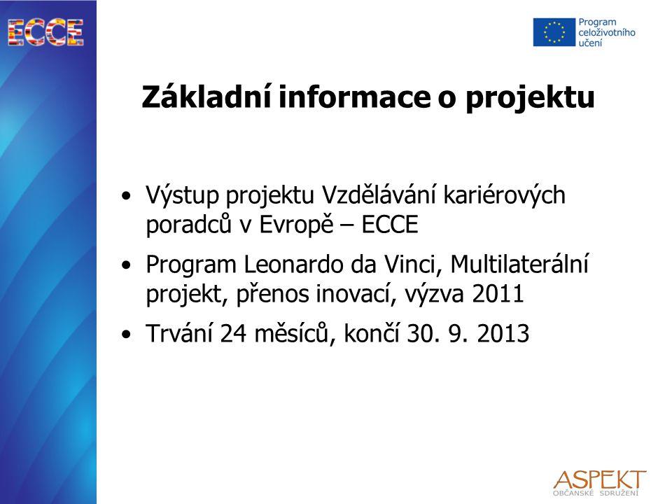 Základní informace o projektu Výstup projektu Vzdělávání kariérových poradců v Evropě – ECCE Program Leonardo da Vinci, Multilaterální projekt, přenos inovací, výzva 2011 Trvání 24 měsíců, končí 30.