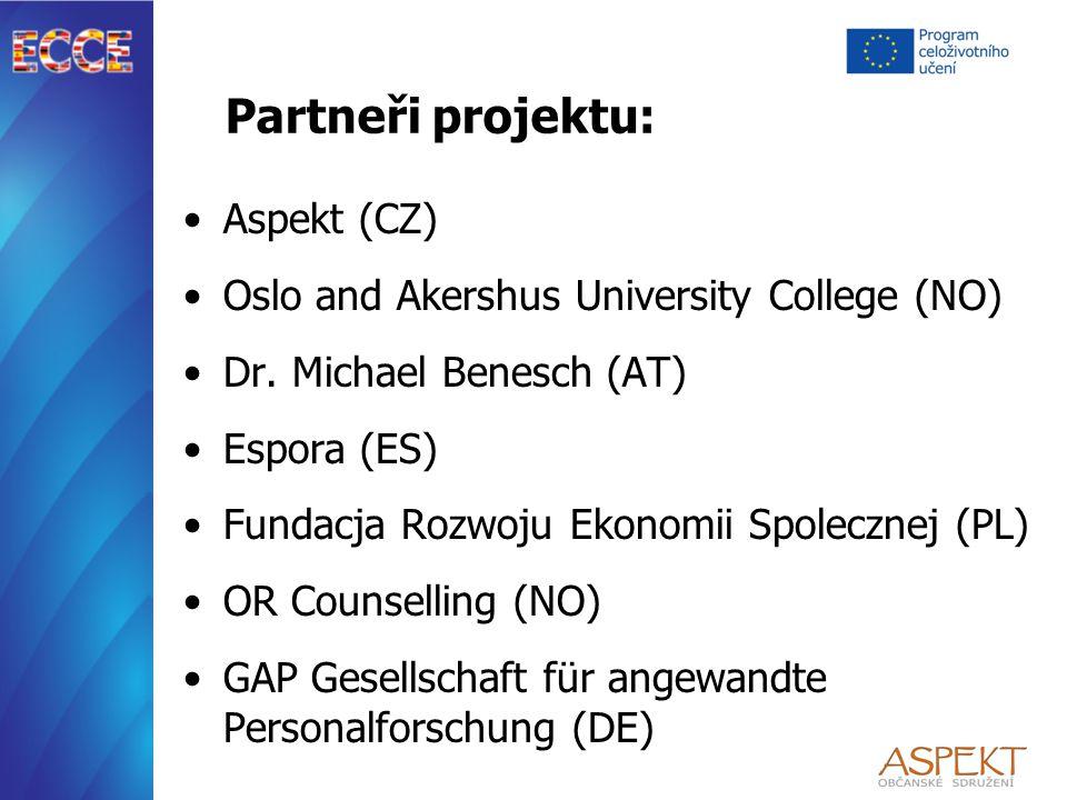 Partneři projektu: Aspekt (CZ) Oslo and Akershus University College (NO) Dr.