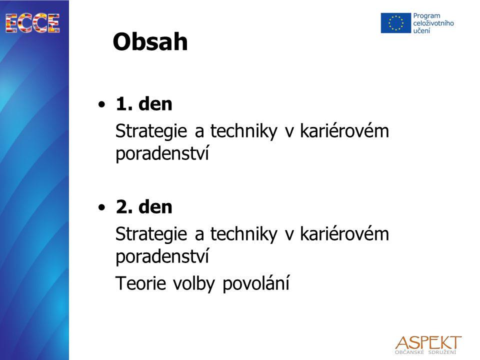 Obsah 1. den Strategie a techniky v kariérovém poradenství 2.