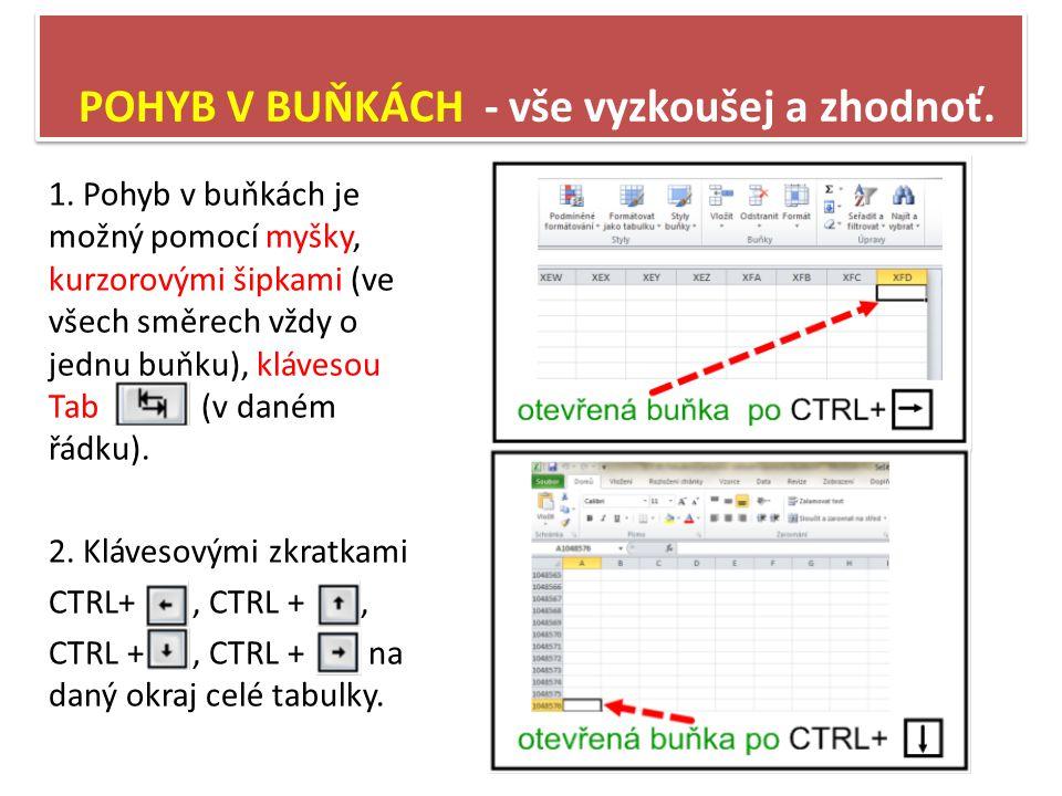 VKLÁDÁNÍ ÚDAJŮ DO BUŇKY Do buňky se dá vložit – text, číslo, datum, vzorec… 1.Spusť aplikaci Excel 2010, vyber buňku E8.