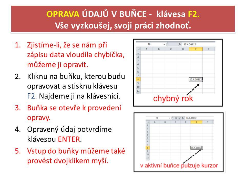 OPRAVA ÚDAJŮ V BUŇCE - klávesa F2.Vše vyzkoušej, svoji práci zhodnoť.
