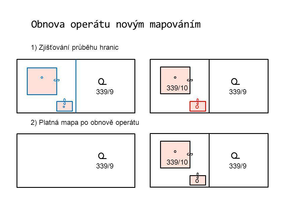 Obnova operátu novým mapováním 1) Zjišťování průběhu hranic 2) Platná mapa po obnově operátu 339/9 339/10 339/9 339/10 339/9