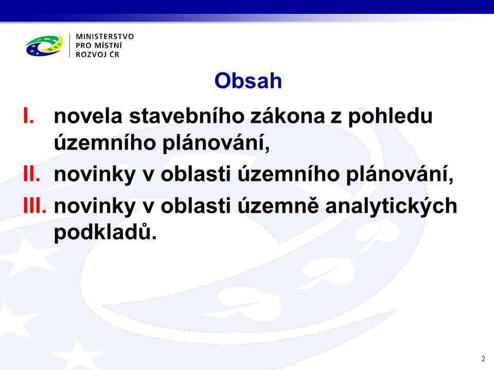 Obsah I.novela stavebního zákona z pohledu územního plánování, II.novinky v oblasti územního plánování, III.novinky v oblasti územně analytických podk