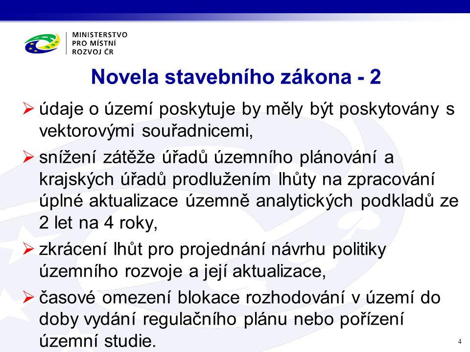 Novela stavebního zákona - 2  údaje o území poskytuje by měly být poskytovány s vektorovými souřadnicemi,  snížení zátěže úřadů územního plánování a
