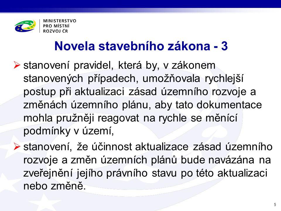 Novela stavebního zákona - 3  stanovení pravidel, která by, v zákonem stanovených případech, umožňovala rychlejší postup při aktualizaci zásad územní