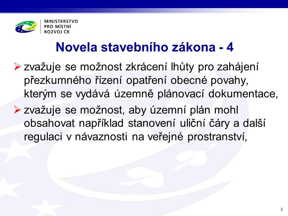 Novela stavebního zákona - 4  zvažuje se možnost zkrácení lhůty pro zahájení přezkumného řízení opatření obecné povahy, kterým se vydává územně pláno