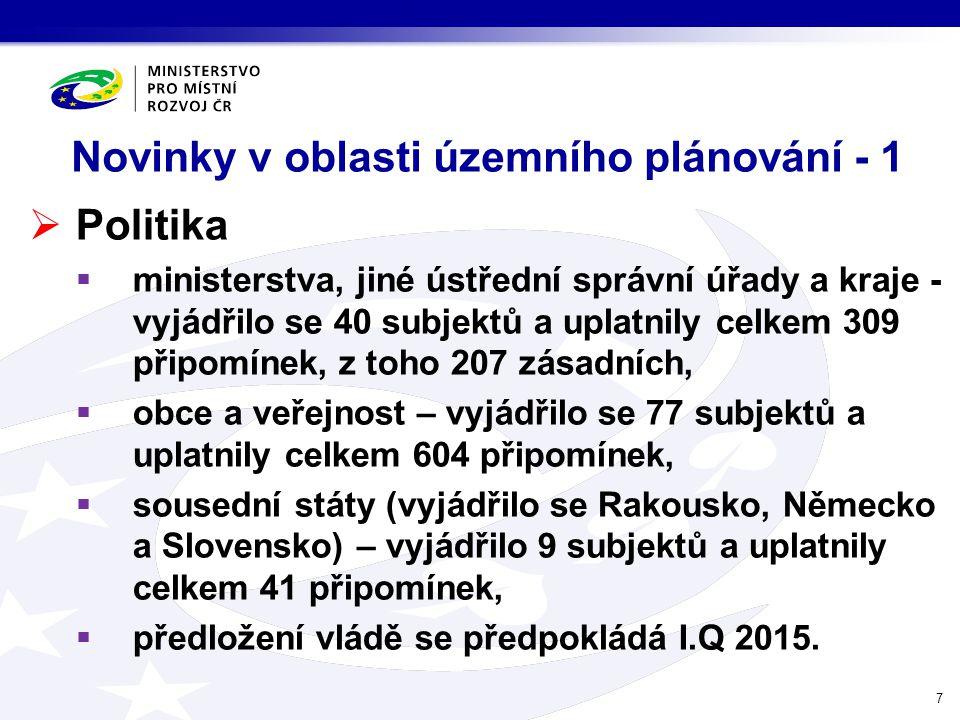 Novinky v oblasti územního plánování - 1  Politika  ministerstva, jiné ústřední správní úřady a kraje - vyjádřilo se 40 subjektů a uplatnily celkem