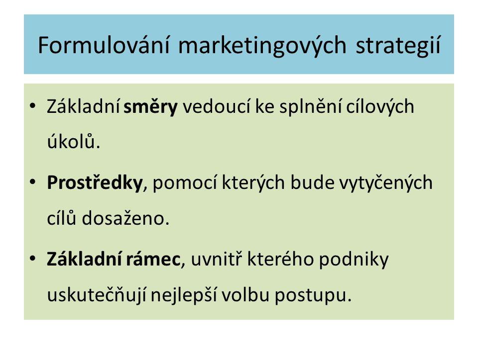 Formulování marketingových strategií Základní směry vedoucí ke splnění cílových úkolů. Prostředky, pomocí kterých bude vytyčených cílů dosaženo. Zákla