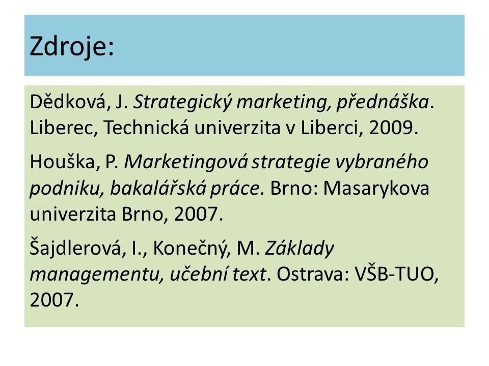 Zdroje: Dědková, J. Strategický marketing, přednáška. Liberec, Technická univerzita v Liberci, 2009. Houška, P. Marketingová strategie vybraného podni