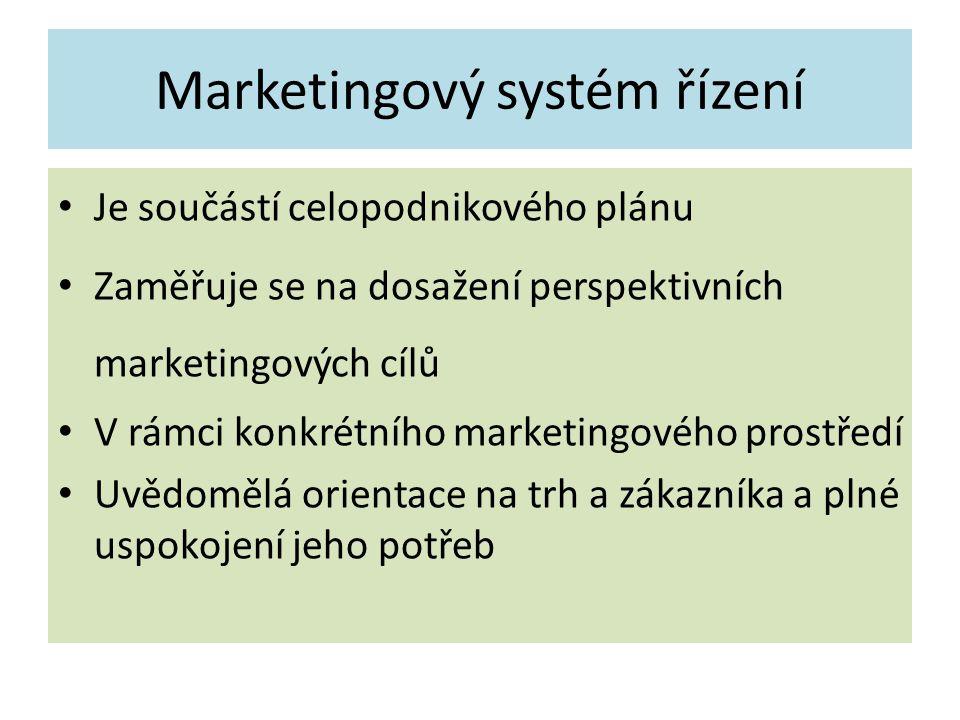 Marketingový systém řízení Je součástí celopodnikového plánu Zaměřuje se na dosažení perspektivních marketingových cílů V rámci konkrétního marketingo