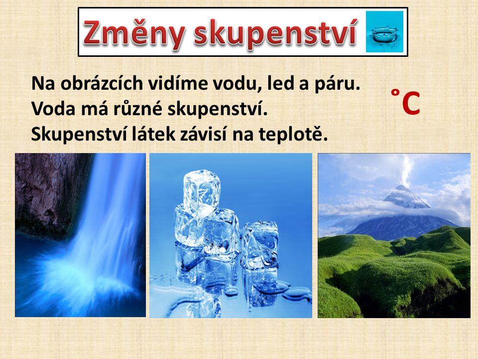 Na obrázcích vidíme vodu, led a páru. Voda má různé skupenství. Skupenství látek závisí na teplotě. ˚C