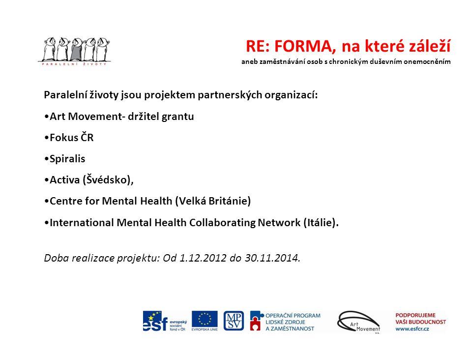 RE: FORMA, na které záleží aneb zaměstnávání osob s chronickým duševním onemocněním Paralelní životy jsou projektem partnerských organizací: Art Movem