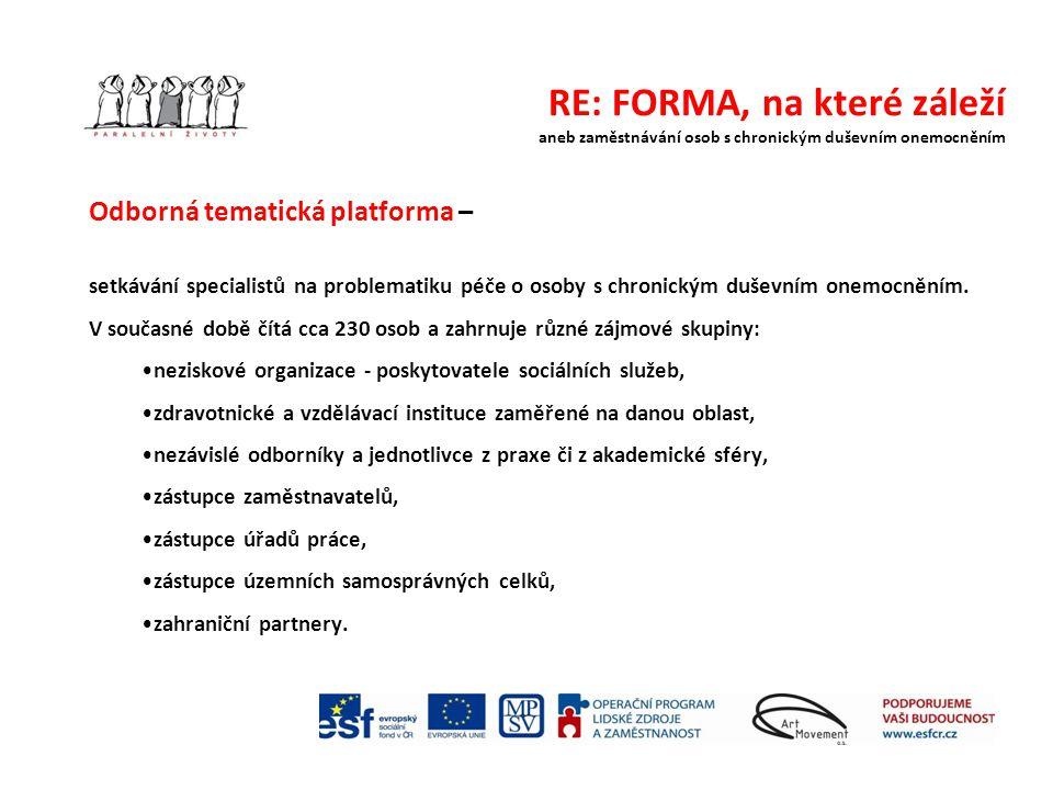 RE: FORMA, na které záleží aneb zaměstnávání osob s chronickým duševním onemocněním Odborná tematická platforma – setkávání specialistů na problematiku péče o osoby s chronickým duševním onemocněním.