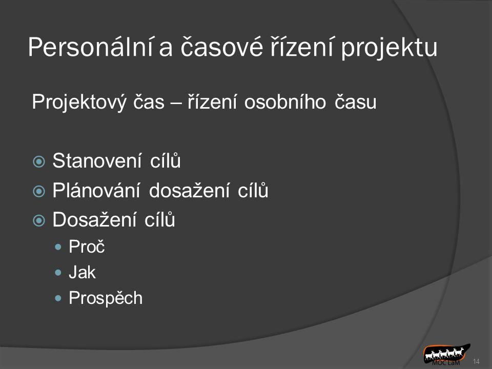 Personální a časové řízení projektu Projektový čas – řízení osobního času  Stanovení cílů  Plánování dosažení cílů  Dosažení cílů Proč Jak Prospěch 14