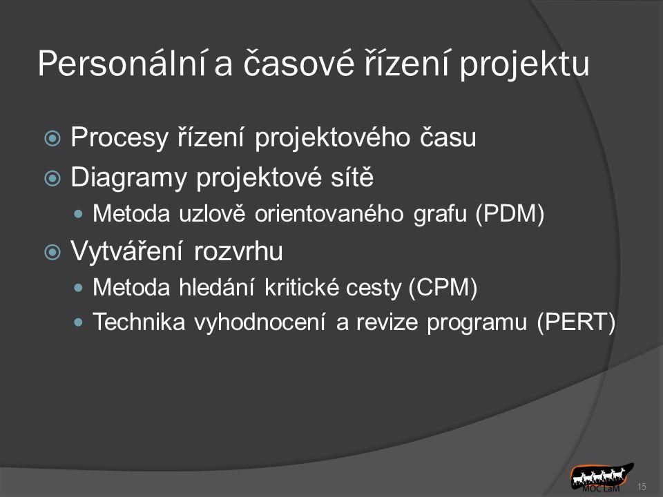 Personální a časové řízení projektu  Procesy řízení projektového času  Diagramy projektové sítě Metoda uzlově orientovaného grafu (PDM)  Vytváření rozvrhu Metoda hledání kritické cesty (CPM) Technika vyhodnocení a revize programu (PERT) 15