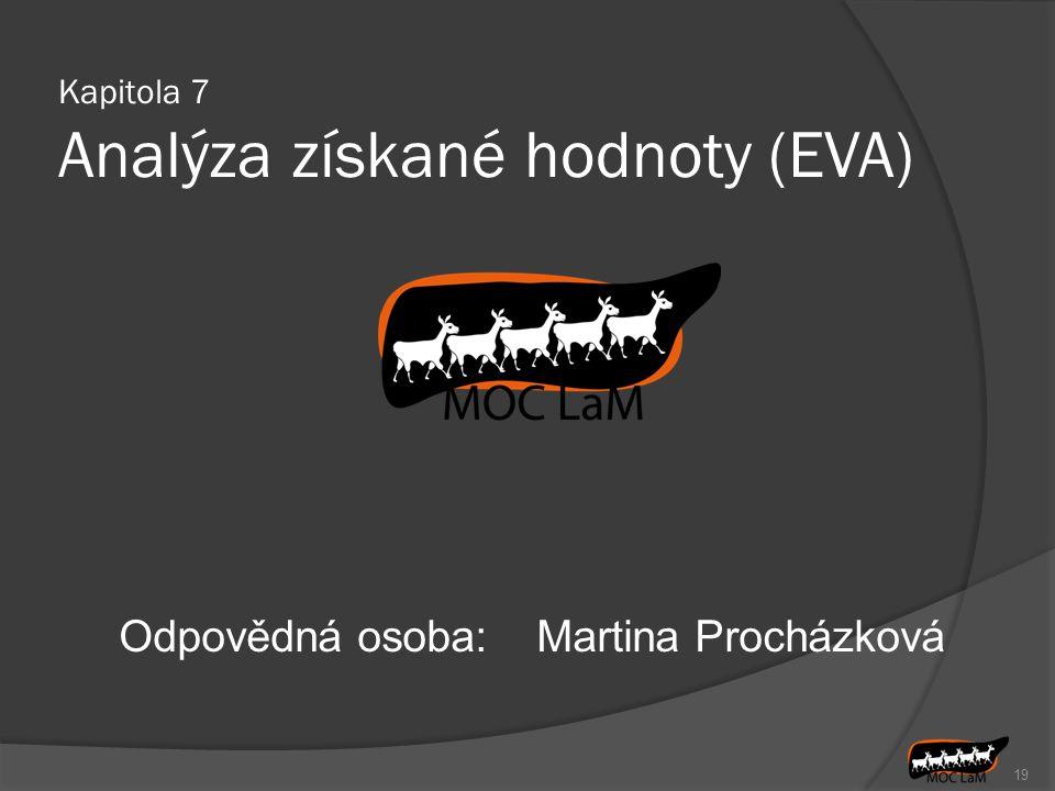 19 Odpovědná osoba:Martina Procházková Kapitola 7 Analýza získané hodnoty (EVA)