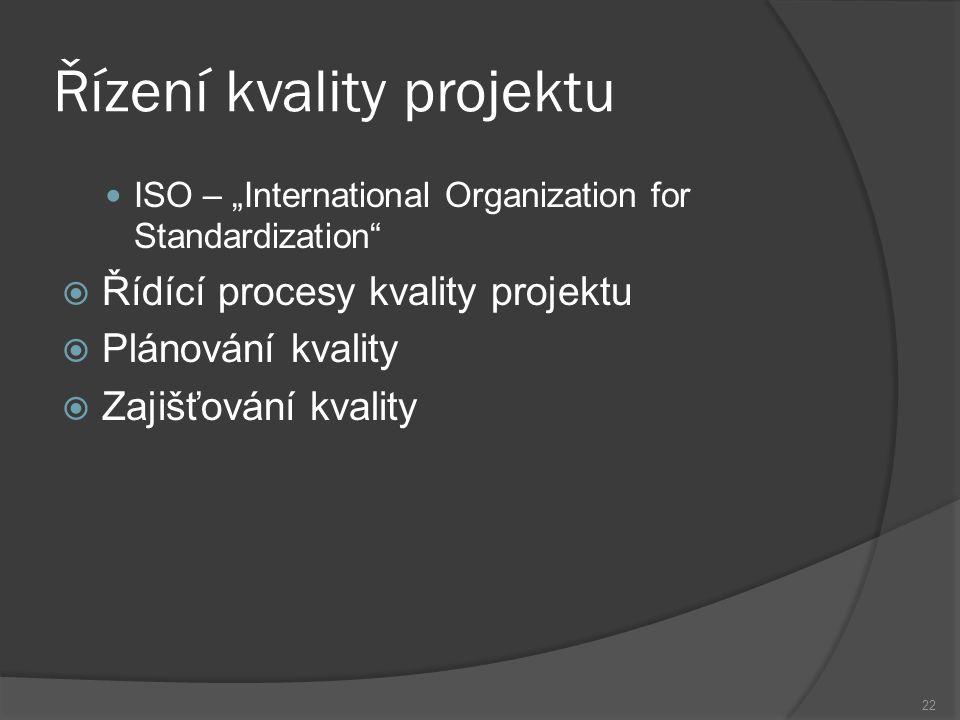 """22 Řízení kvality projektu ISO – """"International Organization for Standardization  Řídící procesy kvality projektu  Plánování kvality  Zajišťování kvality"""