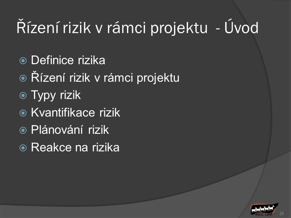 Řízení rizik v rámci projektu - Úvod  Definice rizika  Řízení rizik v rámci projektu  Typy rizik  Kvantifikace rizik  Plánování rizik  Reakce na rizika 28